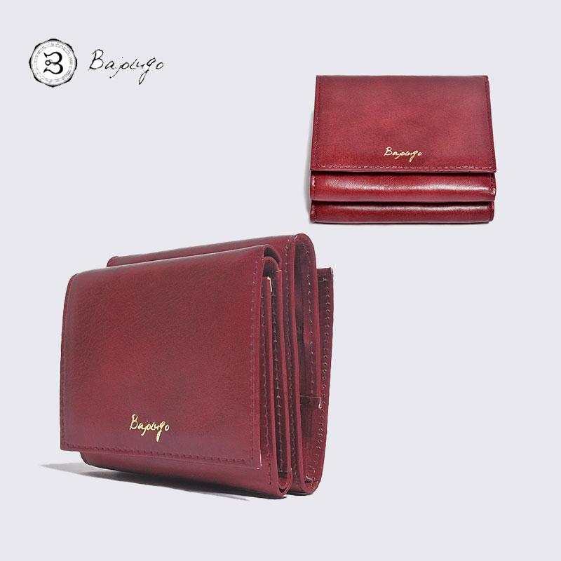BajoLugo 布 財布 スムース バジョルゴ 日本製 三つ折りウォレット レザー ワイン コンパクトウォレット