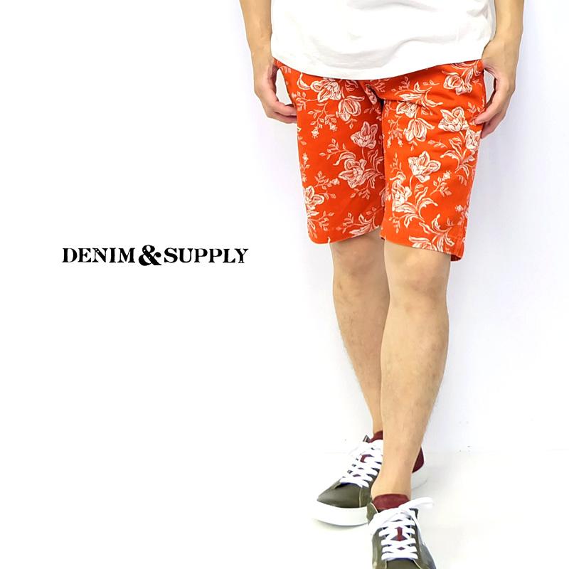 デニムアンドサプライ デニム&サプライ Denim & Supply ボタニカル フラワー アロハ 総柄 オレンジ ショート ハーフ パンツ メンズ アメカジ