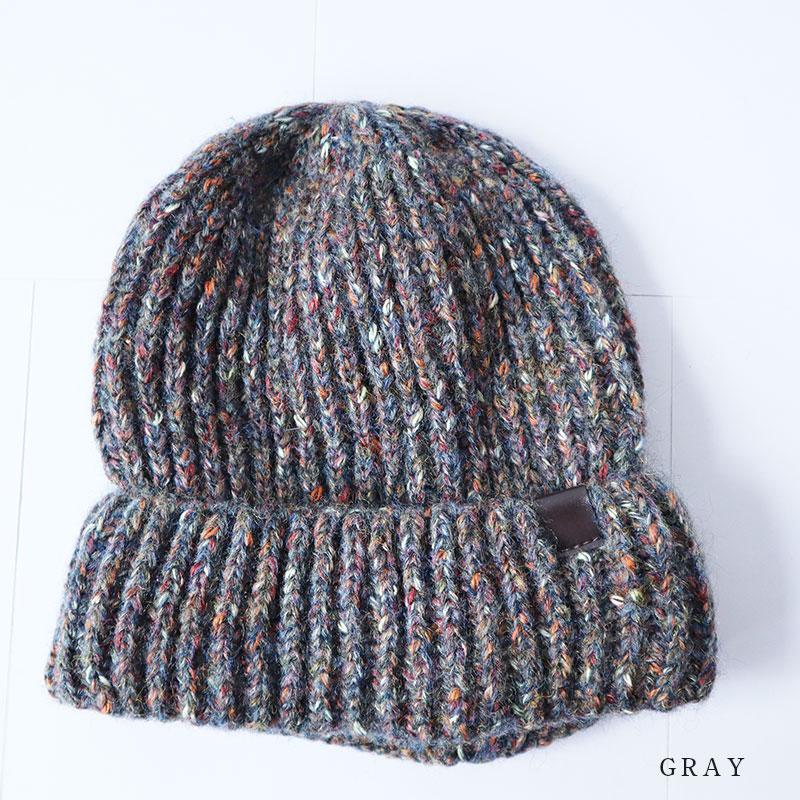 Gioco serio ジョーコセーリオウール blend color NEP knit cap knit hat black gray dark  blue men 433dfe6cf472