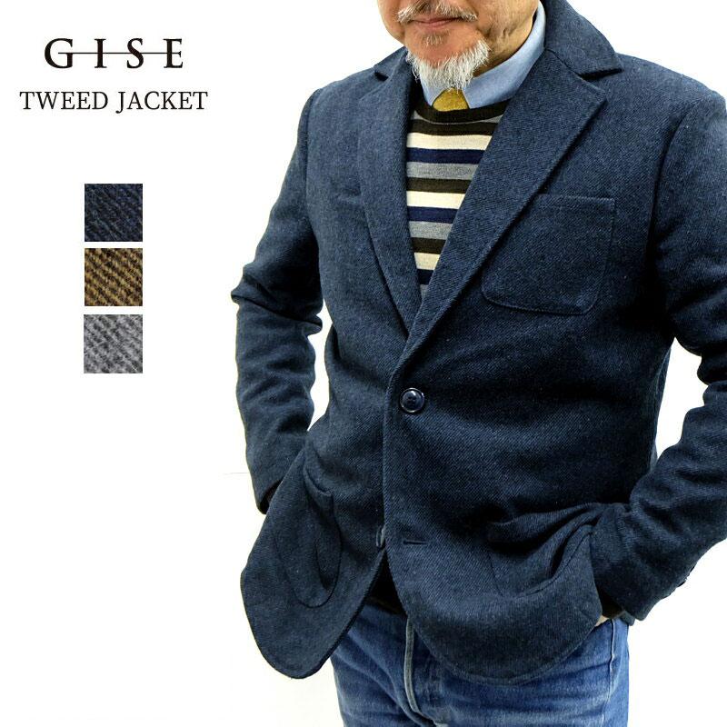 GISE ジセ ツイード テーラード ジャケット メンズ 秋冬