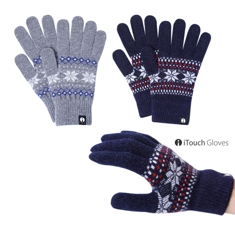 iTouch Gloves eye touch glove PATTERN jacquard knit gloves L men for touch panel