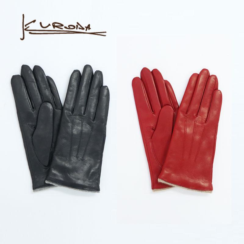 羊革 日本製 レディース 手袋 kuroda クロダ 革手袋 カシミヤ