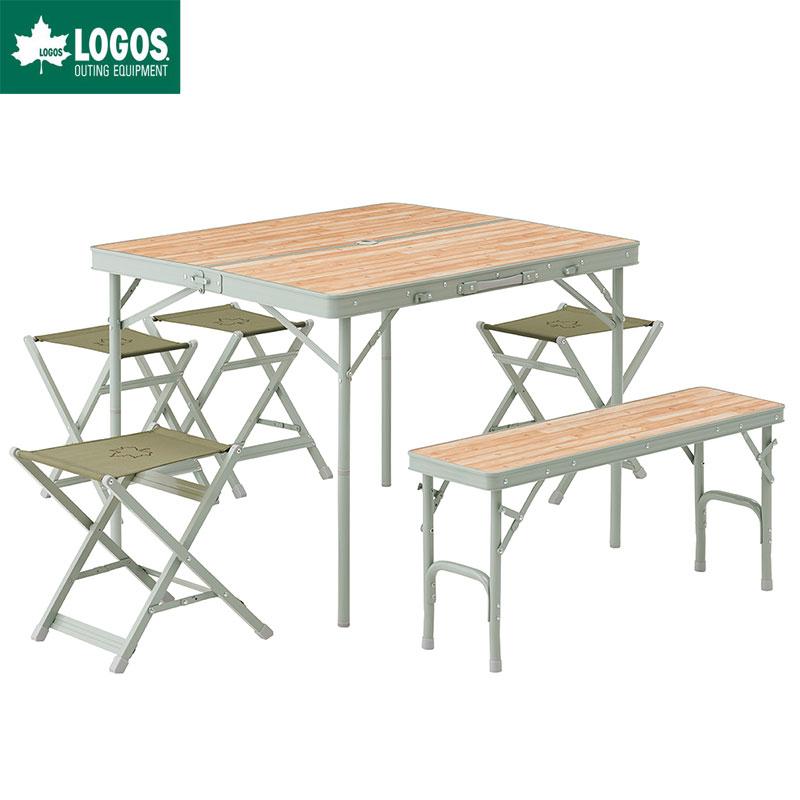 LOGOS ロゴス アウトドア 木 ベンチテーブルセット 6人用