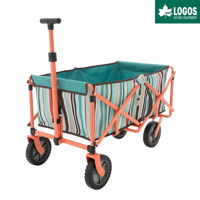 LOGOS ロゴス アウトドア キャリーカート 4輪 折りたたみ ワンタッチ おすすめ 大型 neos ラゲージキャリー ブルーストライプ