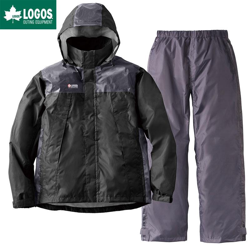 LOGOS ロゴス レインウェア 上下セット リフレクターレインスーツ クライン ブラック M