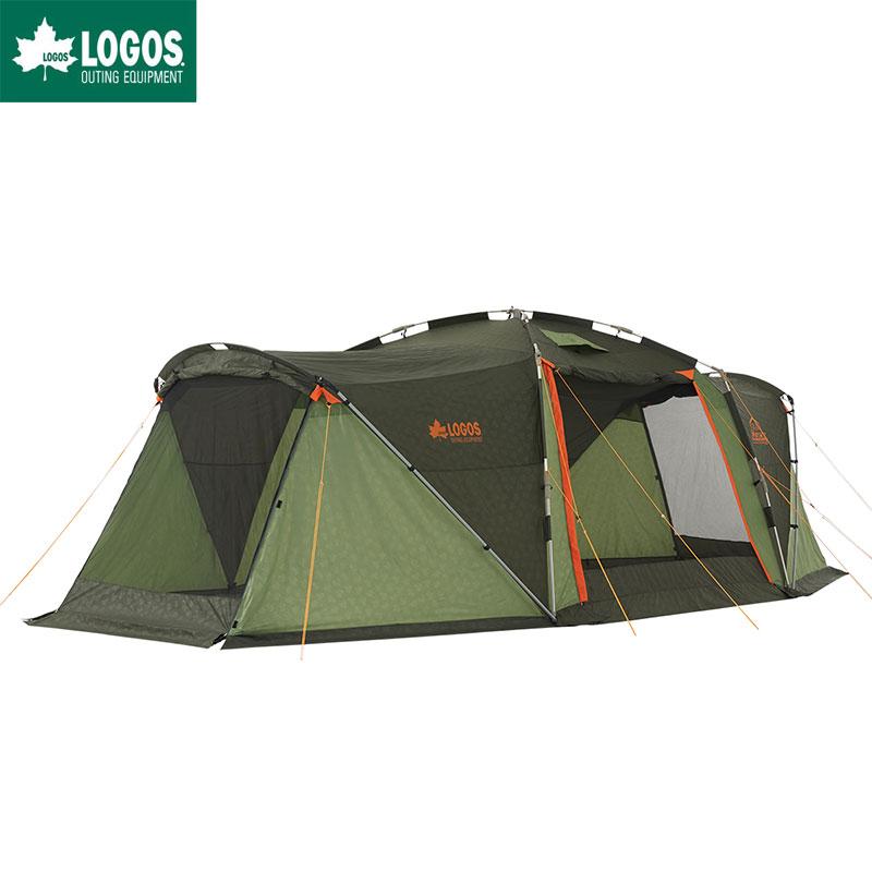 LOGOS ロゴス テント キャンプ ロッジ型 7人用 ワイド 大型 リビング 通路 スペースベース ドックスクリーン-N 連結可 難燃 簡単 タープテント タープ ワンタッチ