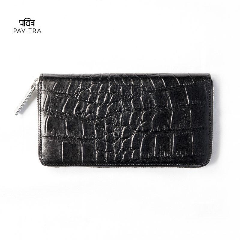 PAVITRA パヴィトラ PINO ピノ グロスロングウォレット ブラック クロコ型押し 長財布