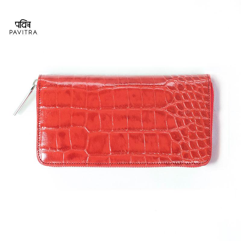 PAVITRA パヴィトラ PINO ピノ グロスロングウォレット レッド クロコ型押し 長財布