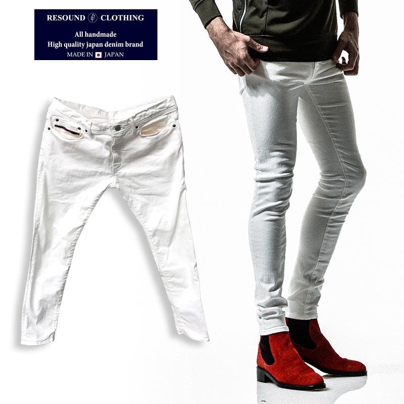 RESOUND CLOTHING リサウンドクロージング スーパーテーパードスキニー デニム RC11 LOAD DENIM 白 ホワイトデニム 白パン メンズ