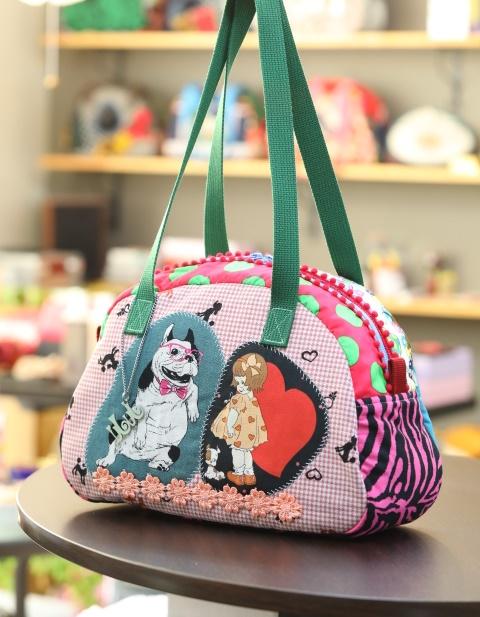 JuJuオリジナル【フレンチブルドッグと女の子】ボストンバッグ/オリジナルバッグ希少可愛いコットンバッグ