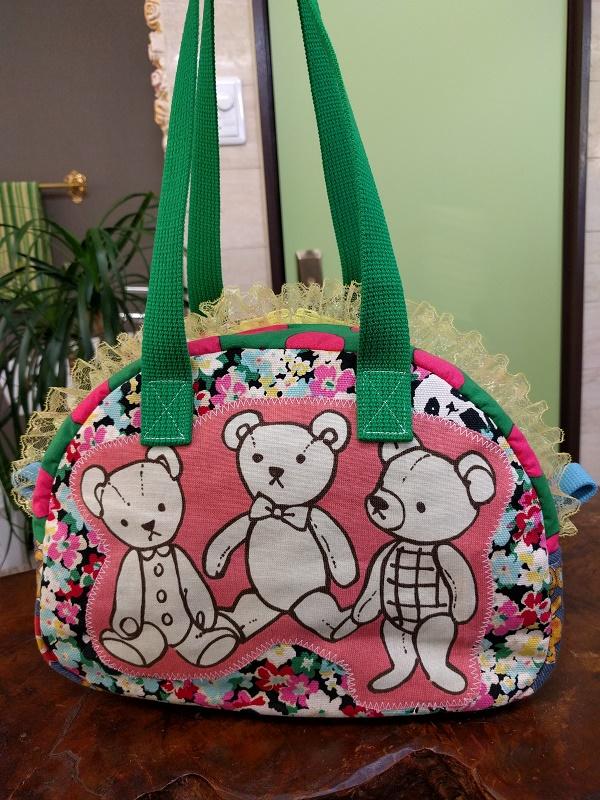 JuJuオリジナル【お花畑のテデイベア】ミニボストンバッグ/オリジナルバッグ希少可愛いコットンバッグ