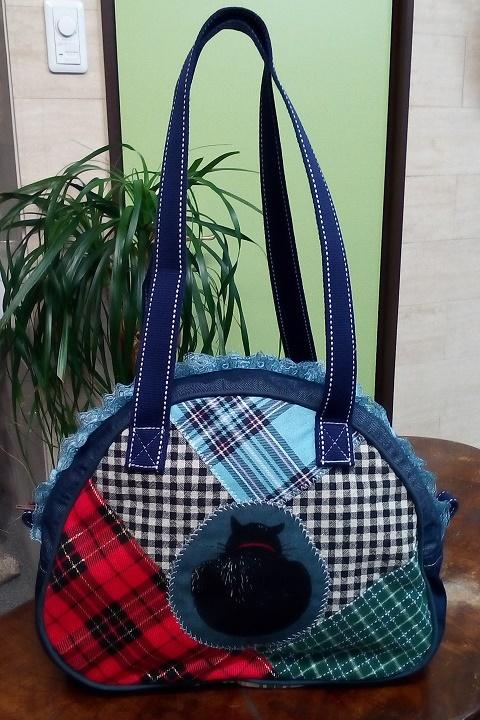 JuJuオリジナル【チエックコラボの黒猫】ミニボストンバッグ/オリジナルバッグ希少可愛いコットンバッグ
