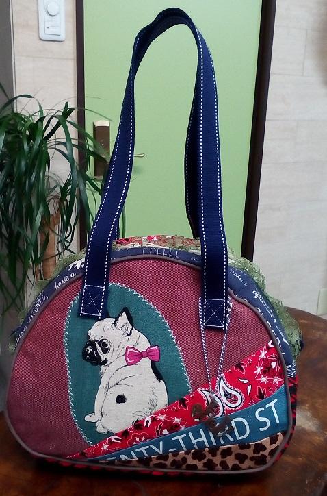 JuJuオリジナル【フレンチブルドッグ  レッド系】ミニボストンバッグ/オリジナルバッグ希少可愛いコットンバッグ