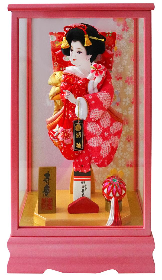 羽子板 初正月 10号 華 パールピンク塗ケース飾り おしゃれ