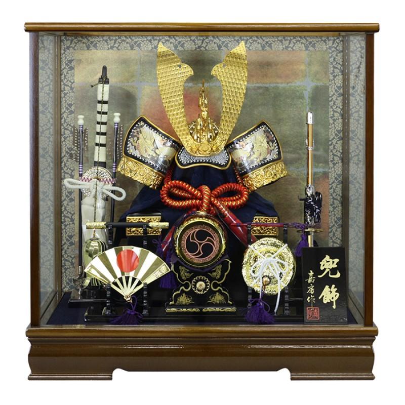 【10/31まで!カード限定エントリーでポイント最大12倍】送料無料 五月人形寿慶 兜ケース飾り 彫金夢兜 三品揃い