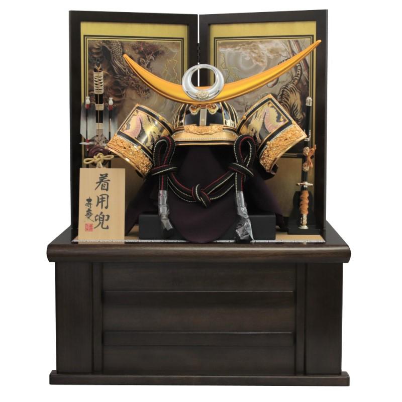 五月人形 兜平飾り 寿慶 着用兜収納飾り 彫金龍ゴールド上杉兜 おしゃれ