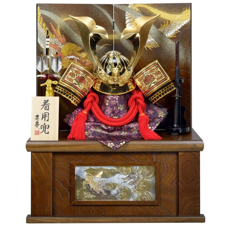 五月人形 着用兜 寿慶 収納飾り 25号透かし牡丹ゴールド北斗大鍬兜 おしゃれ