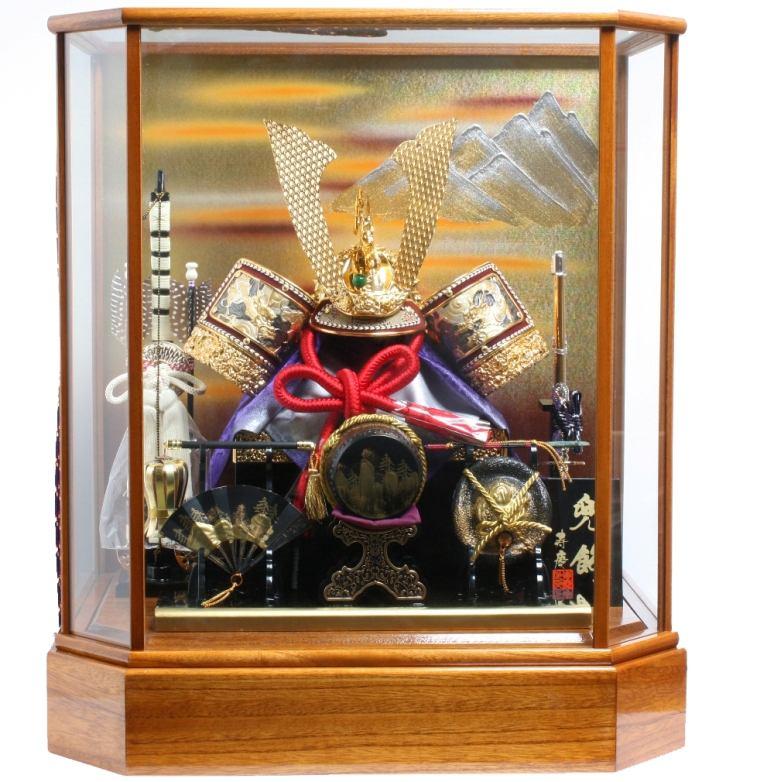 初節句 兜 男の子 五月人形寿慶 兜ケース飾り ケヤキ連山