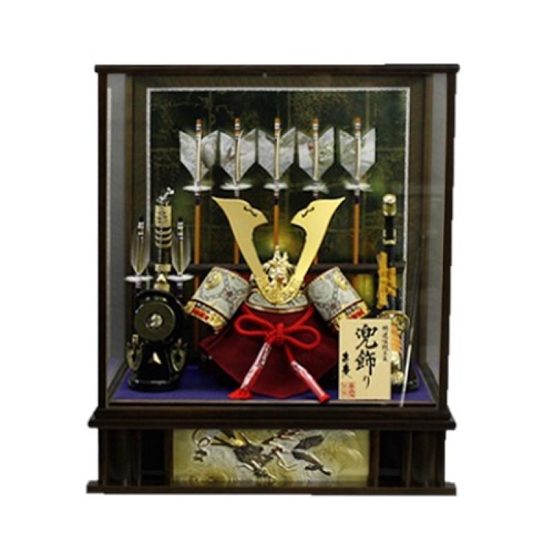 送料無料 五月人形 オルゴール付き 五本の飾り矢付き 五本飾り矢兜 本日限定 おしゃれ 期間限定送料無料 兜ケース飾り