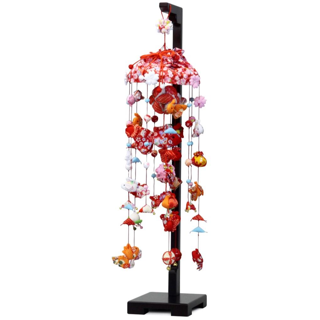 【10/31まで!カード限定エントリーでポイント最大12倍】つるし雛 スタンド 飾り台 金魚 つるし飾り 雛人形寿慶 吊るし飾り 金魚と桜 中サイズ