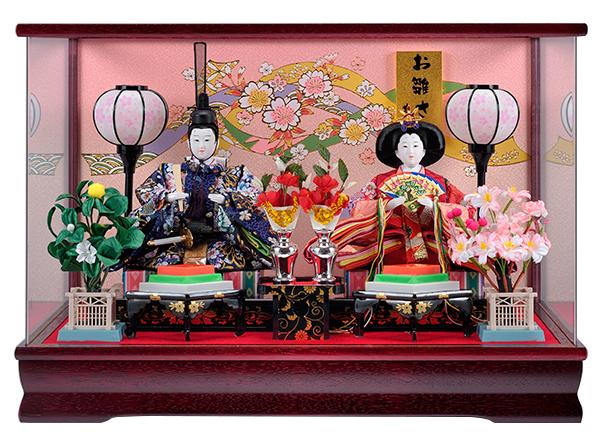 ひな人形 コンパクト 小さい かわいい 雛人形 ケース飾り ケース 寿慶 ワイン塗パノラマアクリルケース おしゃれ