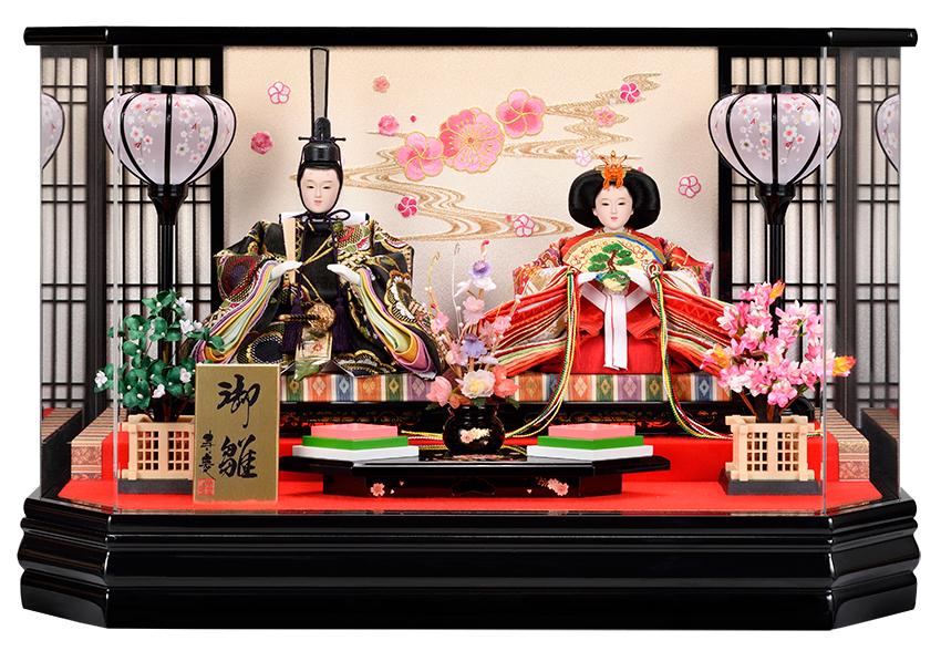 【10/31まで!カード限定エントリーでポイント最大12倍】雛人形 ひな人形 ケース飾り ケース小さい かわいい 送料無料親王ケース飾り 桜流水バックアクリルパノラマケース