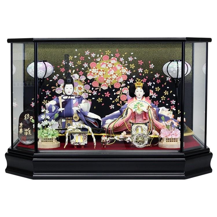 雛人形 ひな人形 ケース飾り ケース小さい かわいい 送料無料寿慶 艶消黒塗六角形ケース 花柄バック