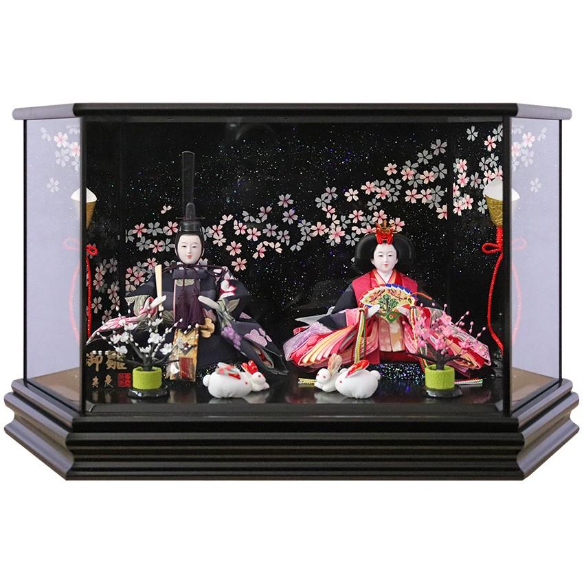 雛人形 ひな人形 ケース飾り ケース小さい かわいい 送料無料寿慶 黒塗六角ケース 流水桜ラメバック