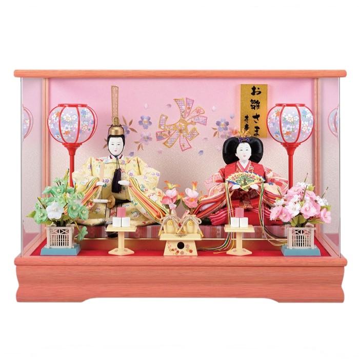 雛人形 ひな人形 雛 ケース飾り コンパクト 親王ケース飾り 西陣織金襴衣装 ピンク塗アクリルケース おしゃれ