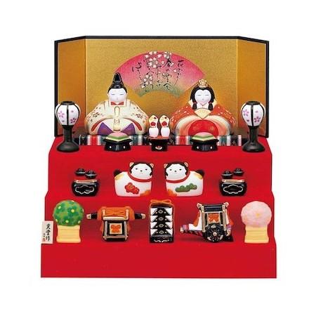 雛人形 コンパクト ひな人形 小さい 薬師窯 雛人形 錦彩華飾り雛(段飾り) おしゃれ