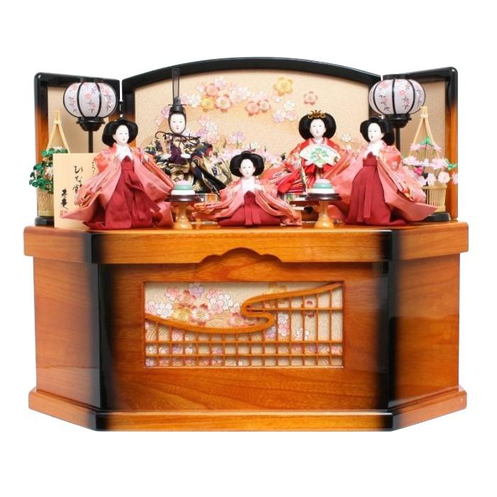雛人形 収納飾り コンパクト 衣装着人形 五人飾り 家具調格子付収納箱 おしゃれ