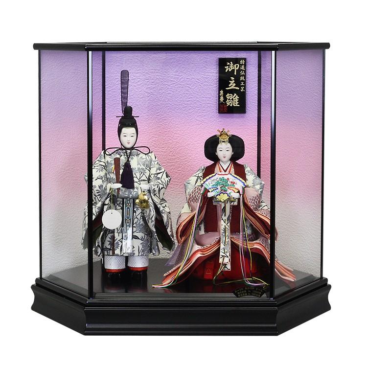 立雛 立ち雛 雛人形 ひな人形 ケース飾り コンパクト 小さい かわいい 寿慶 六角黒塗ケ-ス 淡紫 おしゃれ