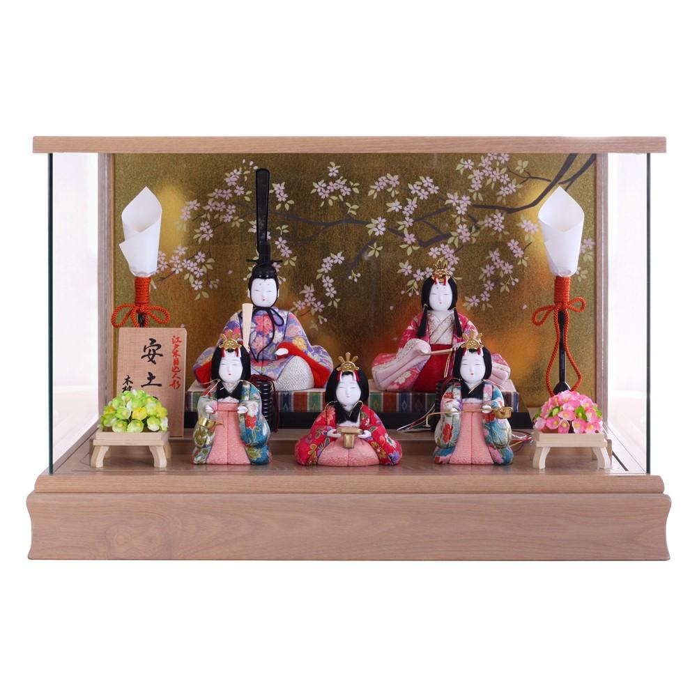【10/31まで!カード限定エントリーでポイント最大12倍】雛人形 ケース飾り 木目込人形五人飾り 安土雛 木村一秀作 木目ケース