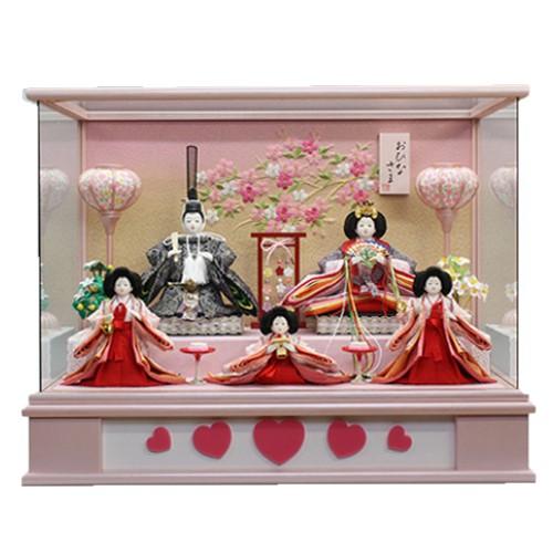 国内最安値! ひな人形 小さい かわいい 雛人形ケース飾り かわいい 五人ケース飾り送料無料寿慶 ひな人形 ハート雛 小さい パノラマピンクケース, 岩見沢市:3ed4cd07 --- canoncity.azurewebsites.net