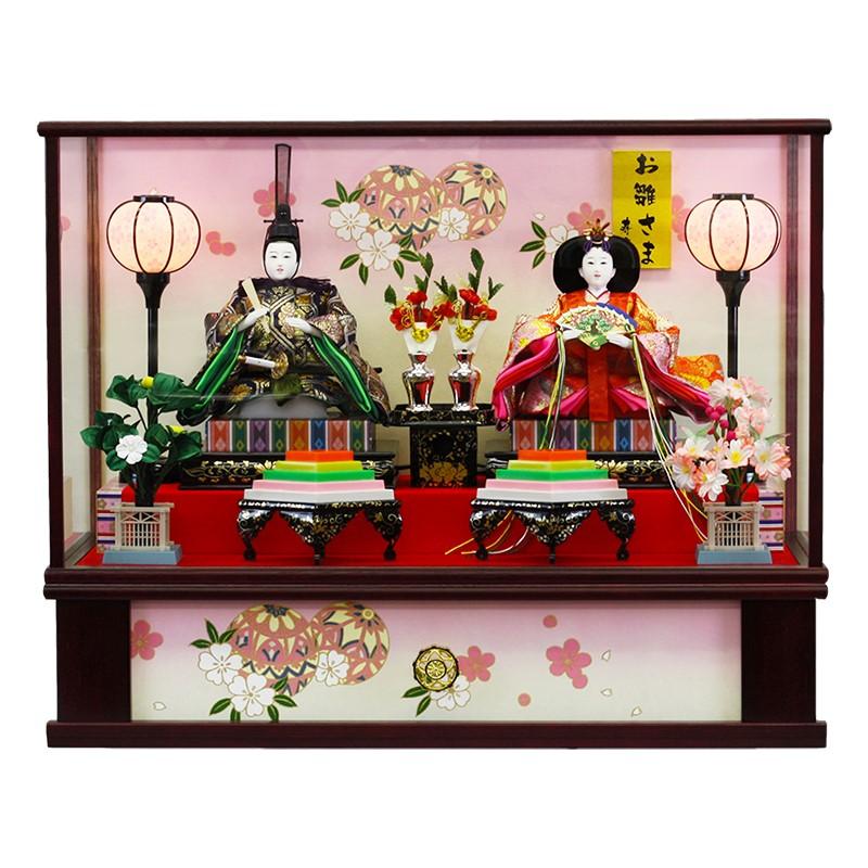 雛人形 ひな人形 ケース飾り ケース小さい かわいい 送料無料 寿慶 ワイン塗ケース 大きめサイズ