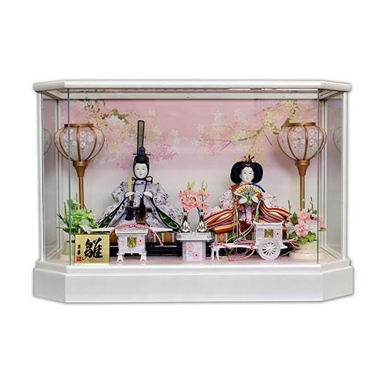 【10/31まで!カード限定エントリーでポイント最大12倍】雛人形 ひな人形 ケース飾り小さい かわいい 送料無料寿慶 六角ホワイトケース LED付
