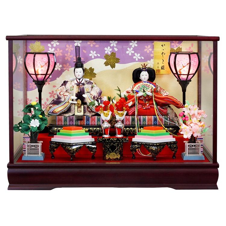 【10/31まで!カード限定エントリーでポイント最大12倍】雛人形 ひな人形 ケース飾り ケース 小さい かわいい 送料無料寿慶 ワイン塗ケース飾り オルゴール機能付