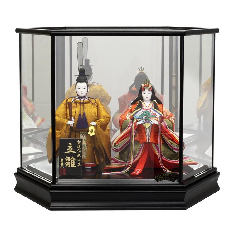 立雛 立ち雛 雛人形 ひな人形 ケース飾り コンパクト 小さい かわいい 寿慶 六角黒塗ケ-ス ミラーバック おしゃれ