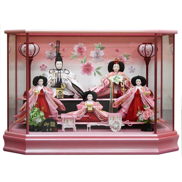 【10/31まで!カード限定エントリーでポイント最大12倍】雛人形 ひな人形 雛 ケース飾り小さい かわいい 送料無料 五人ケース飾りパールピンク塗ケース