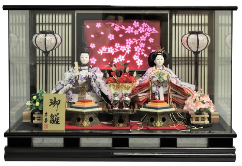 雛人形 ひな人形 親王ケース飾り 黒塗パノラマガラスケース LED付桜バック おしゃれ