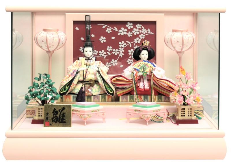 雛人形 ひな人形 親王ケース飾り ピンク塗パノラマガラスケース LED付桜バック おしゃれ