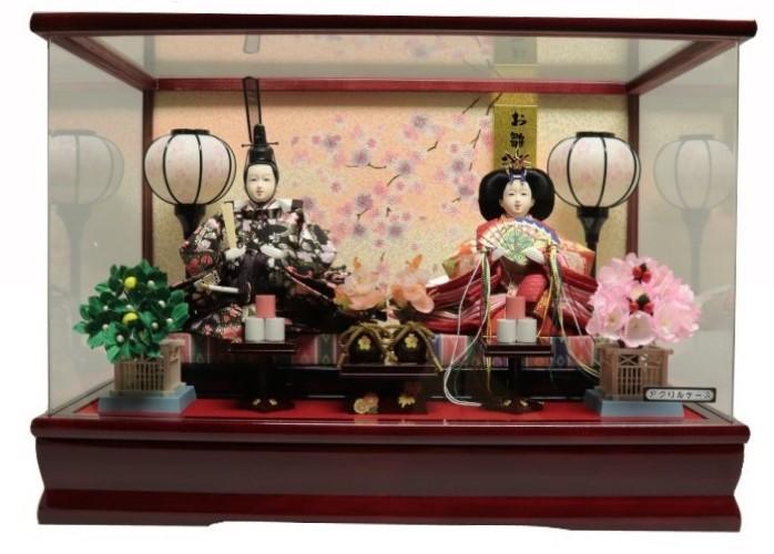 雛人形ケース ひな人形ケース 節句人形 初節句 雛人形 おしゃれ ひな人形 親王ケース飾り 桜バック アイテム勢ぞろい ワイン塗パノラマアクリルケース オリジナル