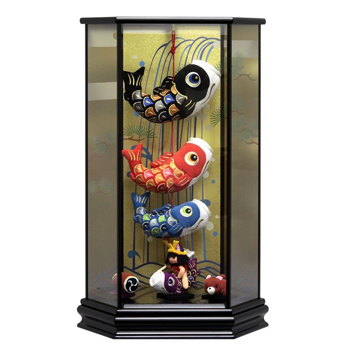 室内用 こいのぼり 五月人形 つるし飾り 室内鯉 出産祝 インテリア ケース飾り 寿慶 六角ケース飾り 金太郎 鯉のぼり おしゃれ