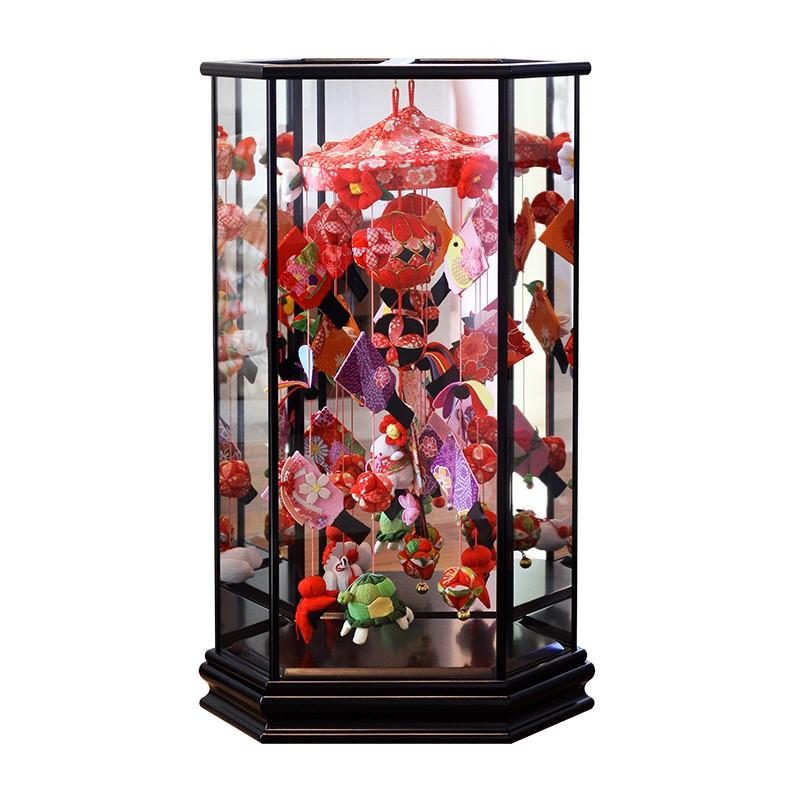 つるし雛 つるし飾り 正月飾り 羽子板 ケース ひな人形 雛人形 寿慶 六角ケース飾り うさぎ羽子板 黒塗りケース 中サイズ おしゃれ