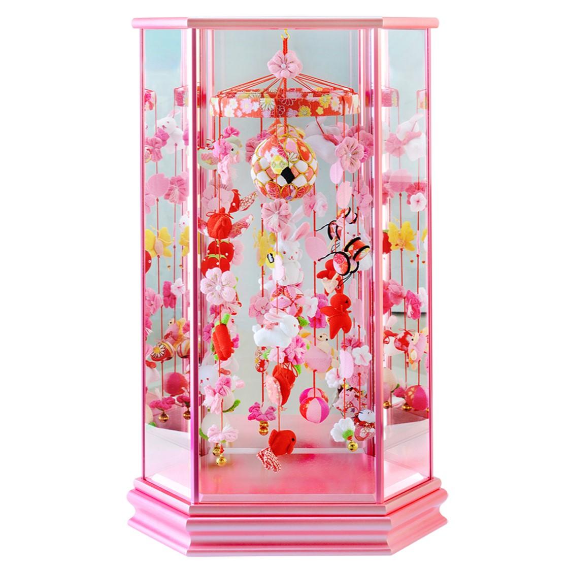 つるし雛 ケース おしゃれ つるし飾り 飾り台 スタンド 寿慶 ケース ひな人形 雛人形 六角ケース飾り うさぎなでしこ ピンクケース 中サイズ おしゃれ