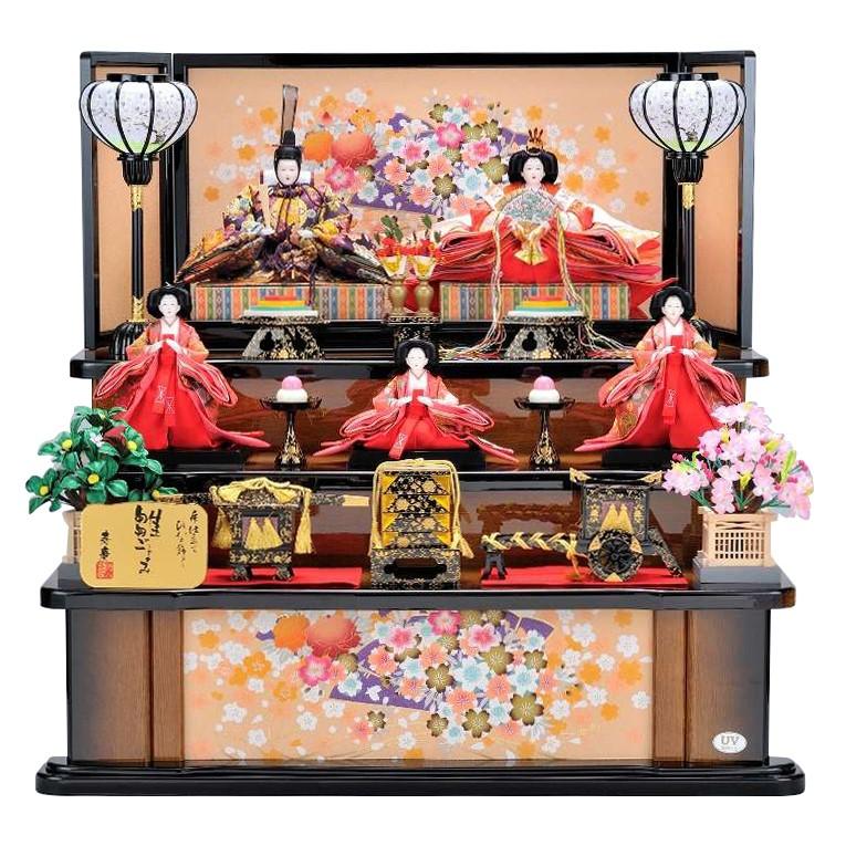 雛人形 三段飾り おしゃれ 衣装着五人飾り組み立て式 家具調段 花扇屏風
