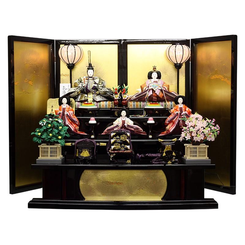 雛人形 三段飾り 衣装着五人飾り組み立て式 黒塗落とし金屏風