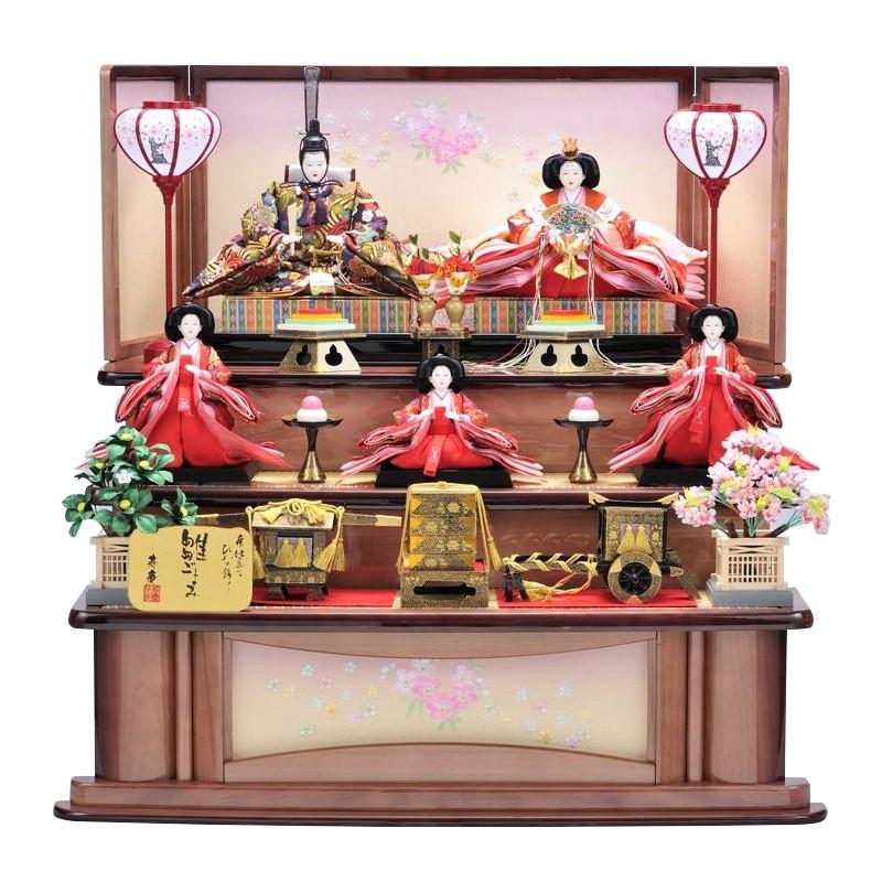 雛人形 三段飾り 衣装着五人飾り組み立て式 薄紫塗家具調三段飾り