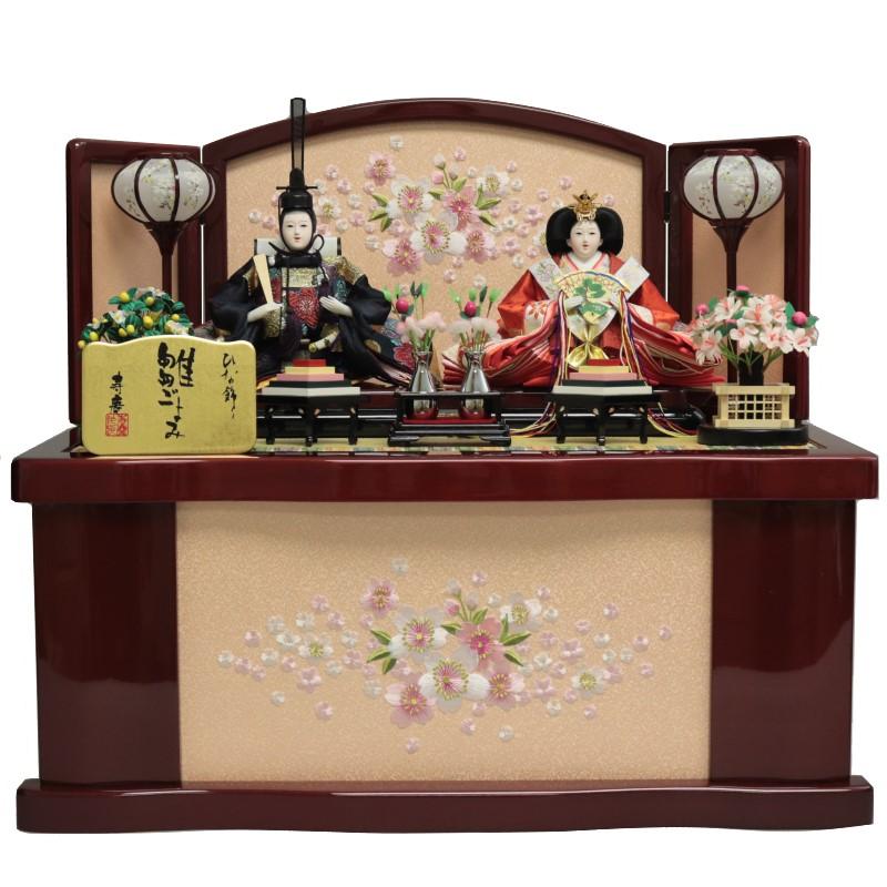 雛人形 ひな人形 収納飾り 衣装着人形 親王飾り 白檀塗収納箱 桜刺繍 おしゃれ