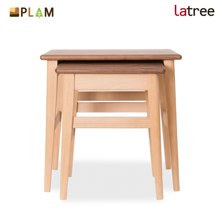 PLAM Latree ネストテーブル1 ビーチ+ウォルナット PL1ONE-0130500-WBUF 小さな無垢の木 幸せインテリア 飛騨家具 プラム ラトレ 木製 北欧